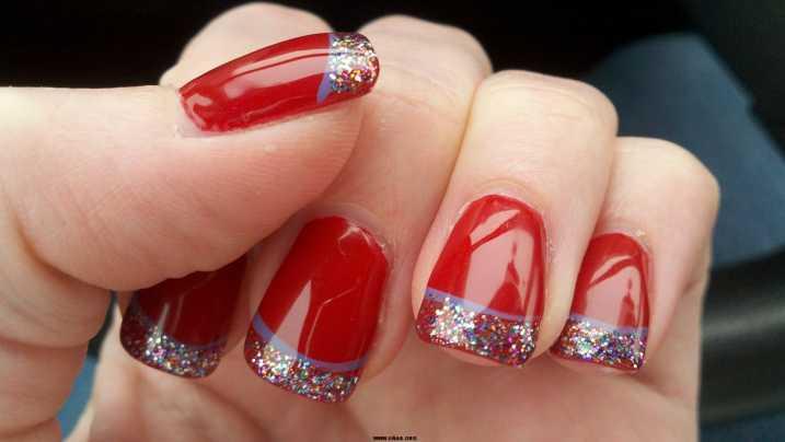 diseños uñas rojas glitter