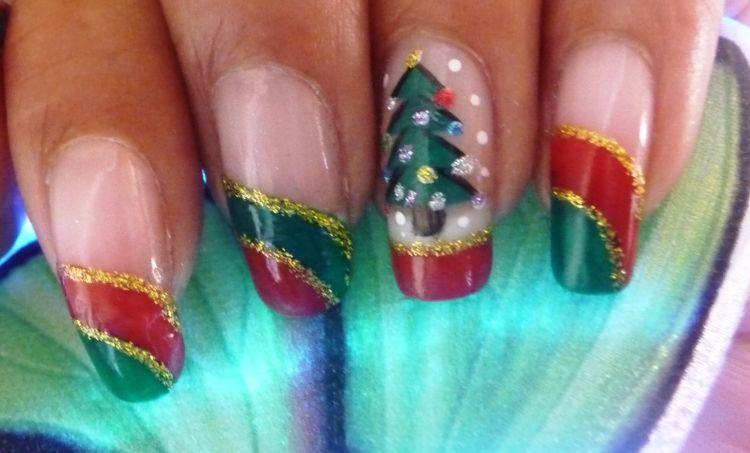 uñas navideñas arbol