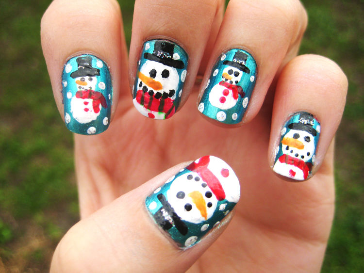 uñas navideñas monos de nieve