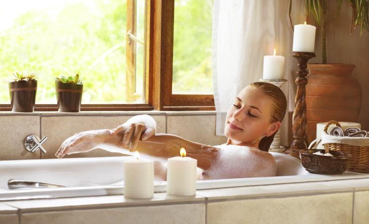 baño de tina relajante