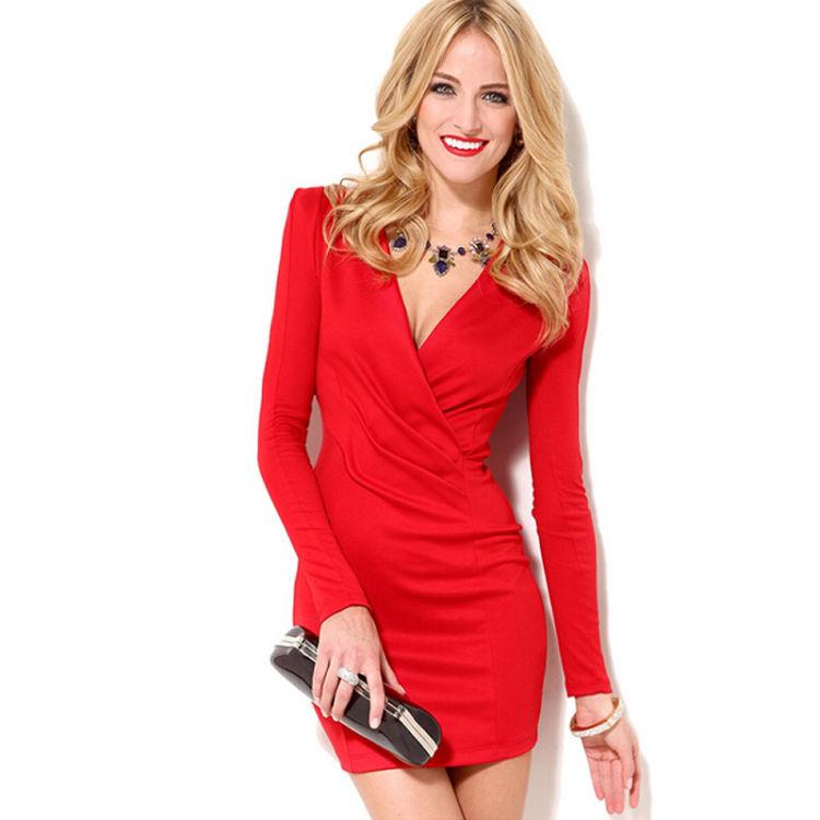 vestido rojo cuello en v