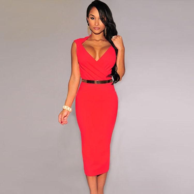 vestido rojo escote