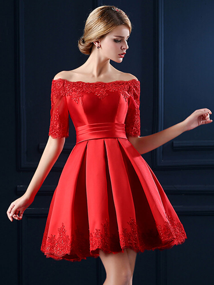 vestido rojo off the shoulder