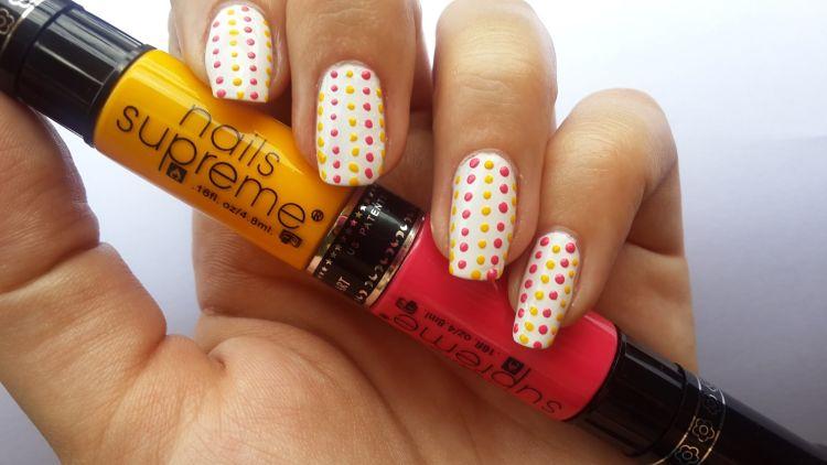 nails arts puntos colores