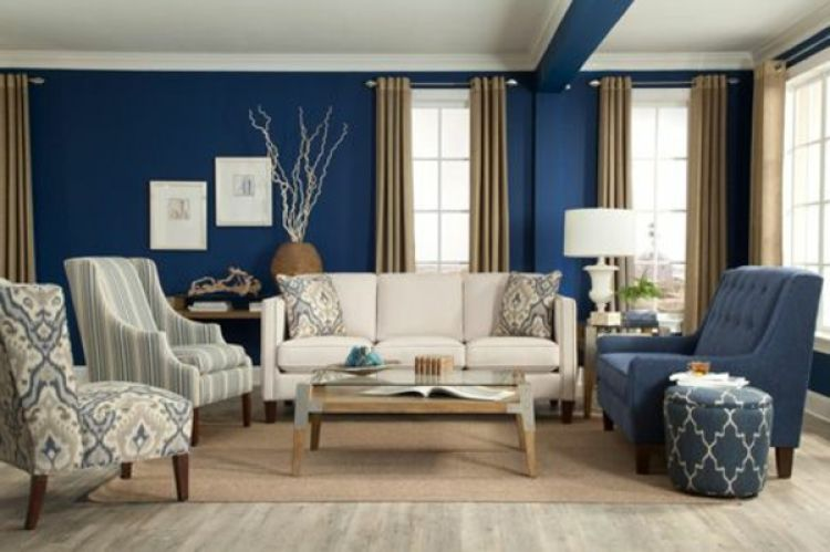 sala azul y marron