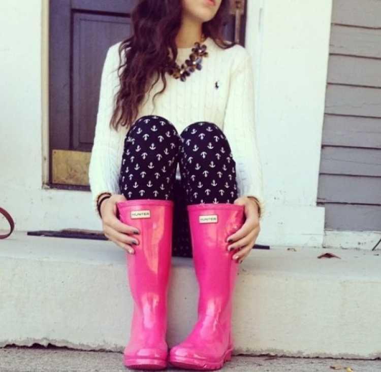 look bota de lluvia rosa