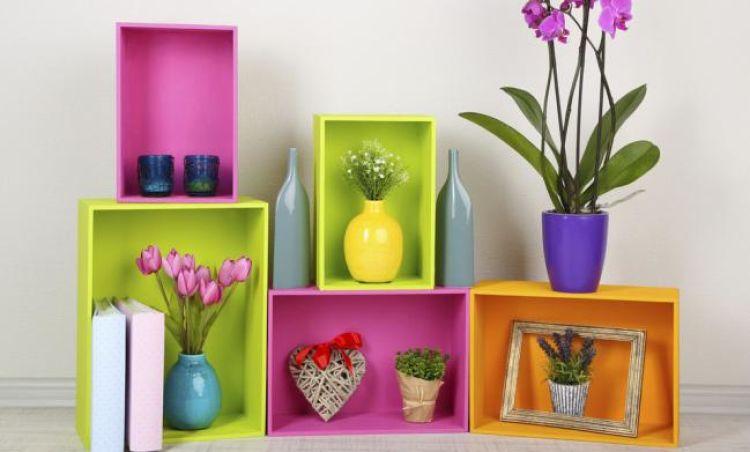 muebles reciclados multicolor