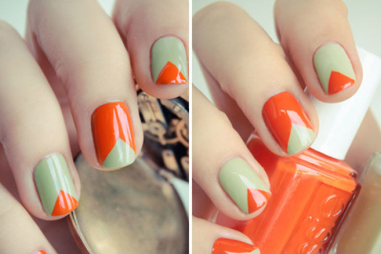 nail art triangular dos colores