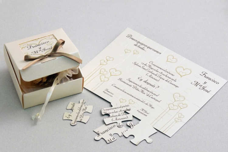 tarjeta de boda de puzzle