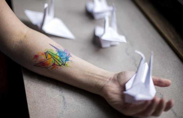 tatuajes de grullas de origami