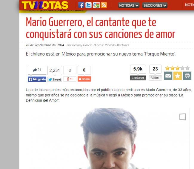 Mario Guerrero TV notas