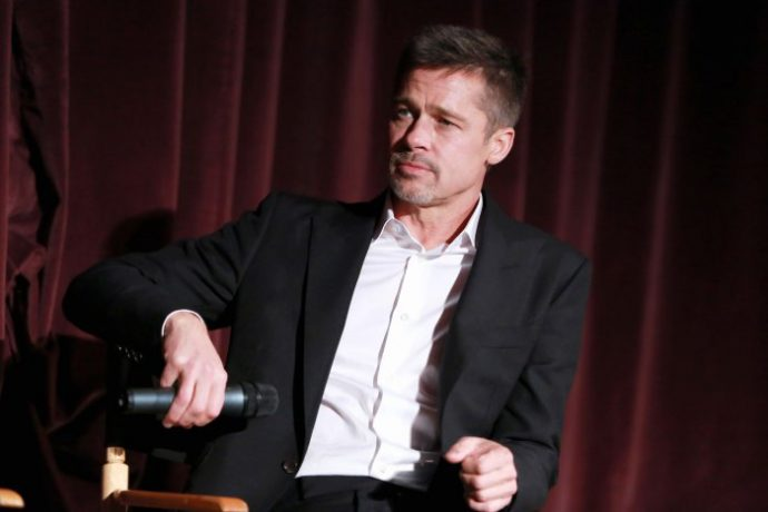 """WESTWOOD, CA - NOVEMBER 09: Actor Brad Pitt during a Q&A at a LA Fan event for the Paramount Pictures title """"Allied"""" at Regency Village Theatre on November 9, 2016 in Westwood, California. (Photo by Jonathan Leibson/Getty Images for Paramount Pictures International)"""